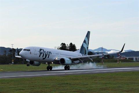 Flyr har hatt sin første flyvning til blant annet Trondheim lufthavn Værnes og Flesland i Bergen (bildet) denne uka.