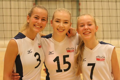 TENÅRINGER: Tiril Muri Krahn (venstre) fra Grorud, Ninni Weisser Eide fra Nordstrand og Ingri Holm Nygaardsmoen fra Oppsal kommer fra egen junioravdeling.
