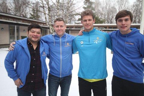 """HAR TROEN: Victor Olivares (venstre), Tony Isaksen, Simen Strømberg og Mats tror på """"lekademiet"""" til BSK."""