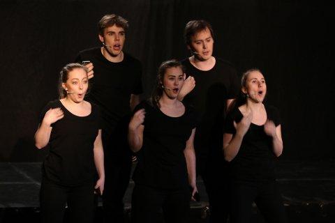 Ensemblet på Bjørnholt: Marius Granerud, Emil Lystad, Jenny Skoland, Iselin Olaussen og Ida Bratlie.