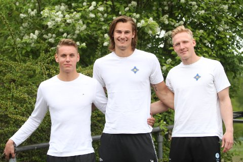 Å SAMLING: Kristian Sæveraas (venstre), Magnus Abelvik Rød og Kevin Maagerø Gulliksen skal på sanling med A-landslaget.