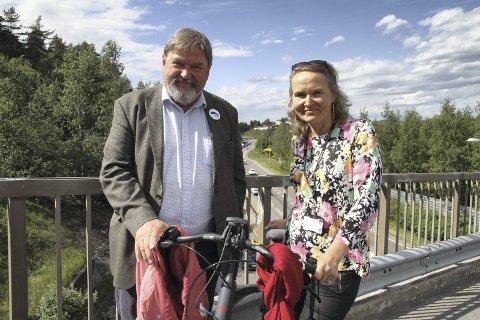 SAMARBEIDER: Leder for Nordstrand bydelsutvalg Arve Edvardsen (H) og leder for Østensjø bydelsutvalg Kristin Sandaker er begge syklister i det daglige. Nå håper de å rekruttere flere syklister gjennom prosjektet Pedaltråkk. Begge foto: Kristin Trosvik