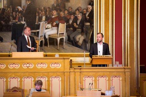 På talerstolen: SV-leder Audun Lysbakken fra Holmlia under konstitueringen 7. oktober.
