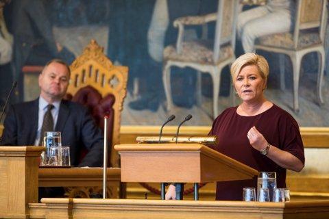 Finansminister: Siv Jensen (Frp) fra Nordstrand la frem forslag til statsbudsjett 12. oktober.