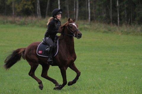 TRENER: Rosa Helene Strand Sabbasen fra Ekeberg trener hesten sin på Stall Nordli på Ellingsrud Ridesenter.