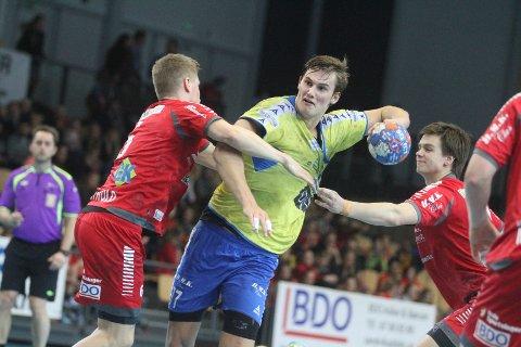 HERJET: Magnus Abelvik Rød var god mot Haslum, og scoret på åtte av tolv skudd.