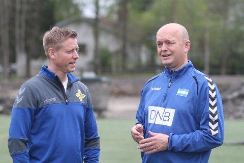 "SAMARBEIDER: Generalsekretær i Norway Cup, Tony Isaksen (venstre) og leder i Nordstrand IF, Robert Hagen skal samarbeide om damehåndballen på ""høgda""."