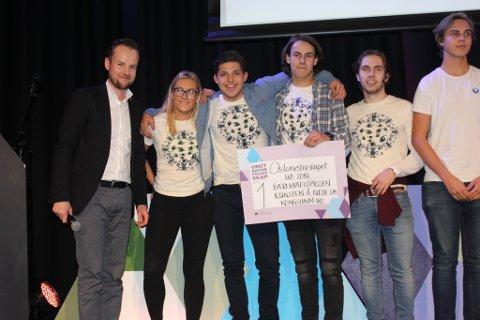 Kunsten å glede: Ungdomsbedriften fra Kongshavn videregående skole er Oslo beste og skal nå delta i NM. Her fra Oslomesterskapet der de også fikk Bærekraftprisen.