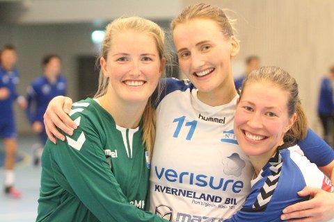 VIL RYKKE OPP: Kathrine Sæthre (venstre), Hanne Aasgaard og Ane Marthe Lines vil rykke opp til 1. divisjon med NIF denne sesongen.