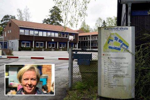 FULLT: Nå er det ti flere førsteklassinger enn det er plass til ved Karlsrud skole neste skoleår, opplyser fungerende rektor Linda Tvedt (innfelt).
