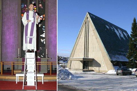 STIGE: Sogneprest Kjetil Hoel Hauge vil ha med seg en stige når han skal holde julaftengudstjeneste i Manglerud kirke. - Vi må ha en stige for å komme opp til Gud, og han kommer ned til oss.