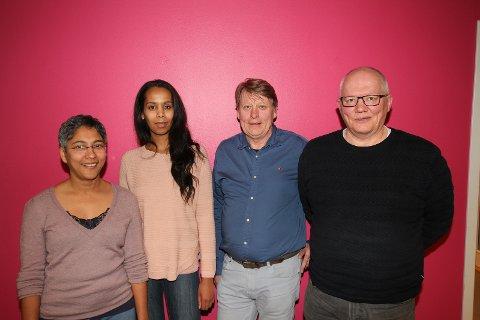 Rødt Nordstrands toppkandidater. Fra venstre: Rosmin Mathew, Idil Ali Osman, Erik Hollie og Geir Øines.