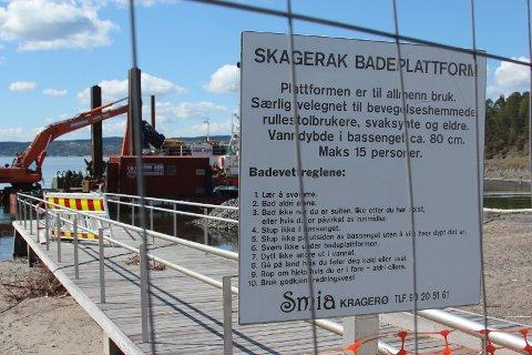 Badeplassen på Solvik får ny steinmolo. Arbeider har pågått og pågår våren  2019.