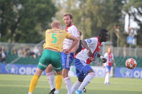 PÅ HUGGET: Abdul-Basit Oura Agouda takket for tilliten med å banke inn 1-0 til KFUM/Oslo mot Ull/Kisa.
