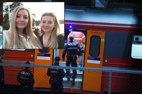Andrine (t.v.) satt på toget hjemover med venninnen Elin torsdag kveld da de fikk beskjed om at de måtte evakueres.