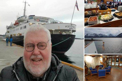 EN SJØENS MANN: Her er Geir Høgåsen på sin 20. jule- og nyttårstur med Hurtigruten.  Han har særlig sans for MS Lofoten (bildet), som ble bygget i 1964 ved Akers mekaniske verksted i Oslo.
