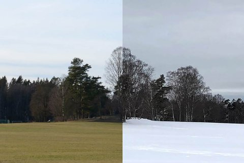 VARMEREKORD: Oslo er blant de ni fylkene som har satt varmerekord i januar 2020.  Her sees Ekebergsletta i januar i år (t.v.) og for et år siden.