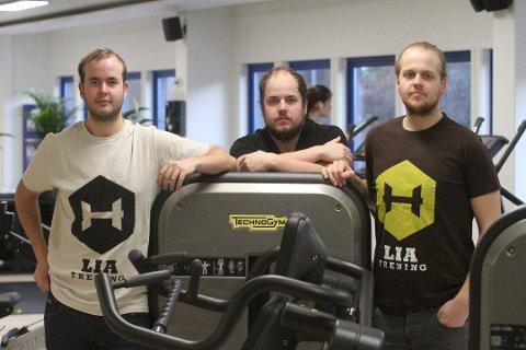 FRA OPPSTARTEN: Brødrene Christian (venstre), Daniel, Fredrik og Arild Nybø (ikke på bildet) startet i 2016 Lia Trening.