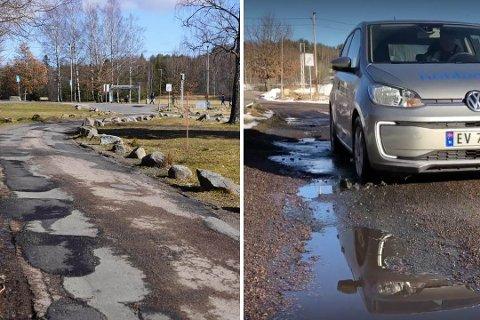 FØR OG NÅ: For 11 dager siden var veien svært hullete. Nå er den utbedret.