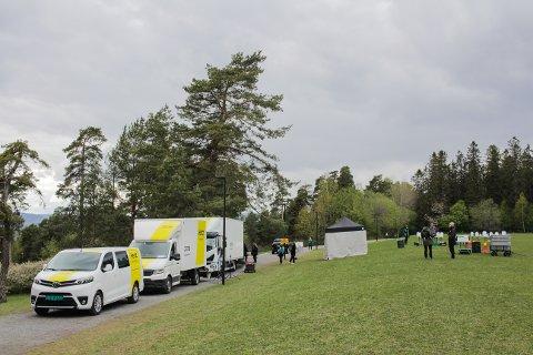 INNSPILLING: Området ovenfor hundesletta i Ekebergparken var fylt med filmcrew til innspillingen av den nye sesongen av Exit.
