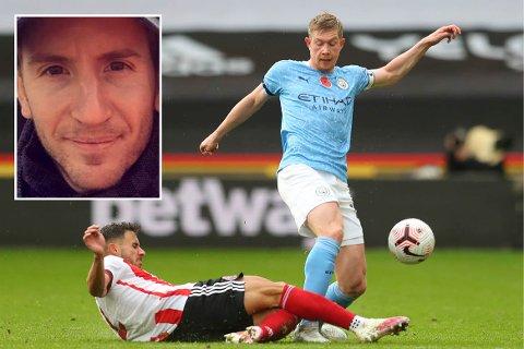 LYSEBLÅ SKAL INN: Kenneth Edvardsen (innfelt) har tro på Manchester City, her representert ved Kevin De Bruyne, foran den kommende dobbeltrunden i Premier League.