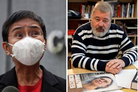 Journalistene Maria Ressa og Dmitri Muratov får Nobels fredspris for 2021 for innsatsen for ytringsfrihet i Filippinene  og Russland.