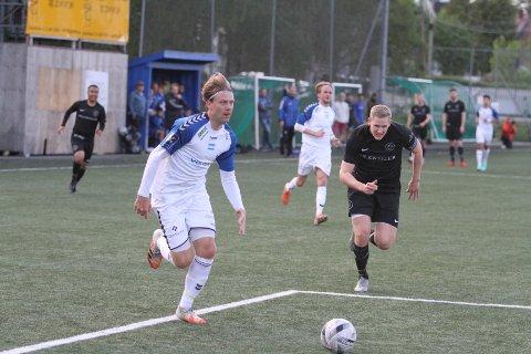 ENDELIG: Kaptein Markus Woldsund synes det var kult å spille kamp igjen etter 16 måneder på sidelinjen. Her fra kveldens treningskamp mot FC Oslo.