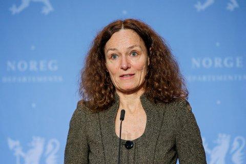 Direktør ved Folkehelseinstituttet Camilla Stoltenberg under en pressekonferanse om koronasituasjonen.
