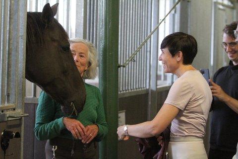 FINT BESØK: Utenriksminister Ine Marie Eriksen Søreide besøkte EKT på Ekeberg i et ledd i Høyres frieritokt i bydelene i Oslo, og hun tok seg tid til å klappe litt på hestene i stallen til Sissel Thorson Falch.