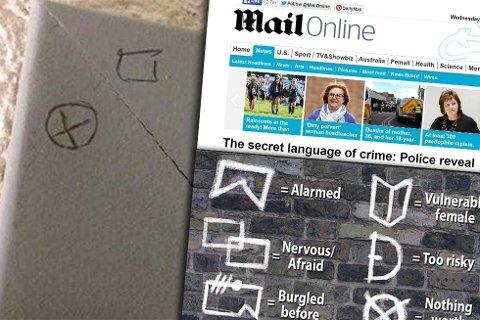 HEMMELIGE SYMBOLER: Symbolene øverst til venstre i bildet, som er funnet i Nord-Norge, sammenfaller med symbolene som britisk politi har kommet over. (Foto: Montasje: Nordlys / Skjermdump av Daily Mail)