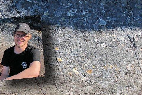 Dette er de første helleristningene fra steinalderen som er funnet i Varanger. De ble funnet på Gamneset på Tømmerneset. Innfelt feltleder Erik Kjellman, som fant dem ved en tilfeldighet. (Foto: Universitetet i Tromsø)