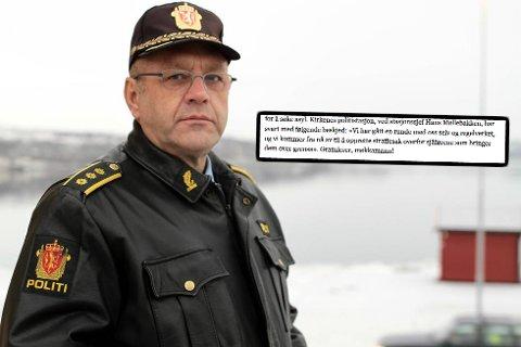 UTFORDRING: Politisjef Hans Møllebakken setter ikke pris på å bli stempler som møkkamann.