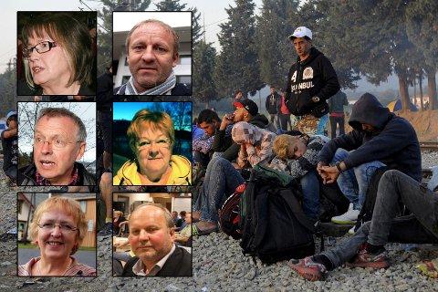 KRISE: Flyktningkrisen i Europa brer om seg. Dette bildet er tatt fredag og viser flyktninger som venter på å krysse grensen mellom Hellas og Makedonia. I mellomtiden er nordnorske kommuner bedt om å bosette flyktninger. De fleste har sagt ja, men det er ikke nok. Øverst fra venstre: Helene Rognli (Målselv), Geir-Inge Sivertsen (Lenvik), Hanny Ditlefsen (Karlsøy), Sølvi Jensen (Lyngen) og Halvar Wahlgren (Nordreisa).