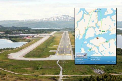 AIRBUS: En Airbus A310 fra det tyske luftforsvaret kretset over den militære flyplassen Evenes tirsdag, før det forsvant sørover igjen.