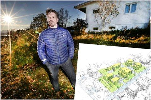 STOR INTERESSE: Prosjektleder Ole Vidar Furnes i Totalrenovering foran huset i Fagerliveien som satte prisrekord da et knippe Tromsø-investorer gikk sammen om å sikre seg kremtomta i fjor sommer. Den innfelte illustrasjonen viser de syv planlagte boligene.