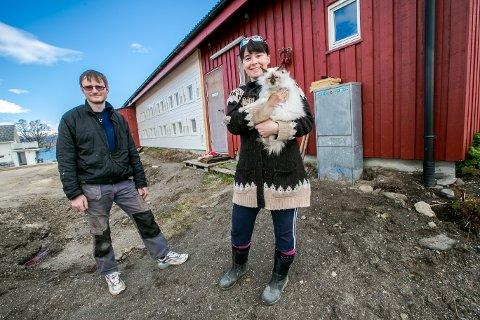 LUKSUS: Hos Anders Eilertsen får byens katter bo på første klasse. Her er han sammen med kona, June Kristiansen og pusen Sofie, som foreløpig er den eneste katten som har sjekket ut fasilitetene.