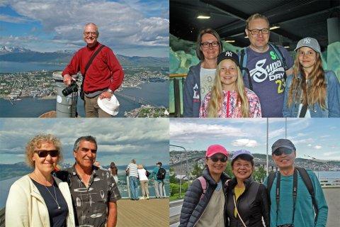SKRYTER: Bernhard fra Tyskland (øverst t.v), Maria og Mehdi fra Sverige (under t.v), finnene Juri, Mari, Greta og Tilda Salin (øv. t.h) og R.J, Kathy og Lili fra Taiwan og USA skryter alle voldsomt av opplevelsene i Tromsø.