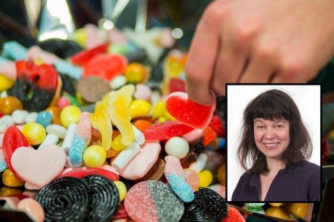 SUKKER=NARKOTIKA?: Når du spiser sukker trigger du de samme systemene som ved inntak av hasj, heroin og kokain. Det bekymrer professor Aina Ravna (innfelt).