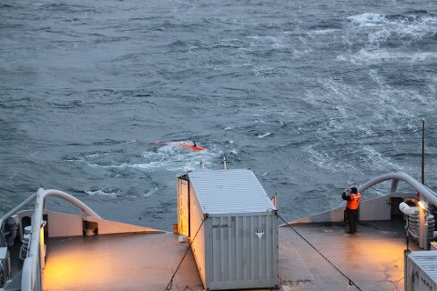 NYTT SØK: Et interessant objekt skal sjekkes i to faser. UAV-en Hugin (på bildet) settes ut igjen for å sjekke objektet søndag morgen.