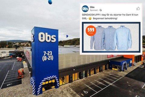 LITE POPULÆR: Gant-tilbudet til Obs tas dårlig imot at Gant Norge. Foto: Coo