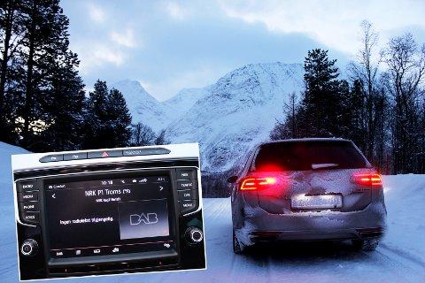 BLE BORTE: Her på fylkesvei 51 til Sjursnes, forsvant mottaket av NRK P1 Troms i bilen vår.  Foto: Bengt Nielsen
