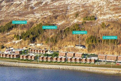 ENDRE: Byggetrinn 1 og 2 er allerede igangsatt og skal være ferdig til høsten. Det er i forbindelse med byggetrinn 3 og 4 at utbygger ønsker å endre på planene for antall boenheter.