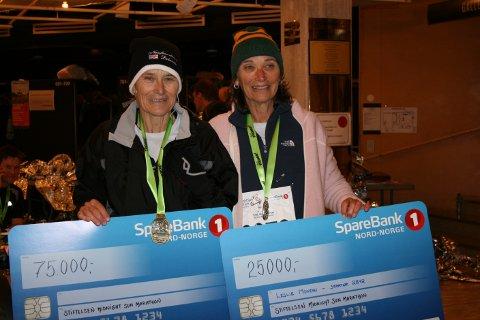 Leslie Montan (t.h) løp MSM for første gang lørdag og fikk premien som deltaker nummer 100.000. Etter løpet donerte hun 75.000 kroner til Kirkenes Bymisjon. Her sammen med søsteren Chloe Glover.