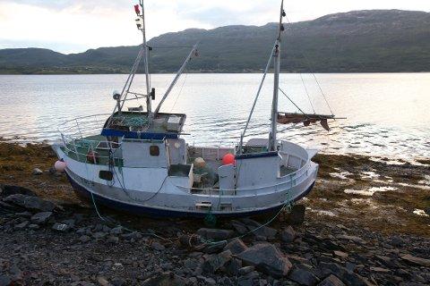 Et drøyt halvår etter at den rak på land ligger vraket av fiskebåten fortsatt i fjæra. Kommunen sjekket aldri forurensingsfaren. Foto: Ola Solvang