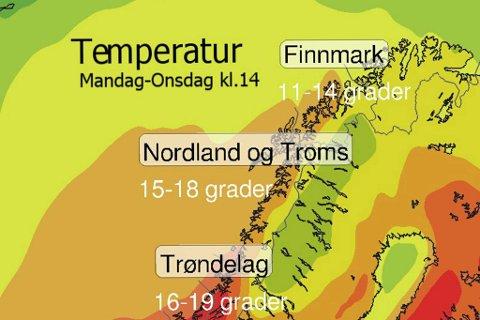 GODE NYHETER: Ifølge prognosene fra Meteorologisk institutt vil de høye temperaturene fortsette neste uke.