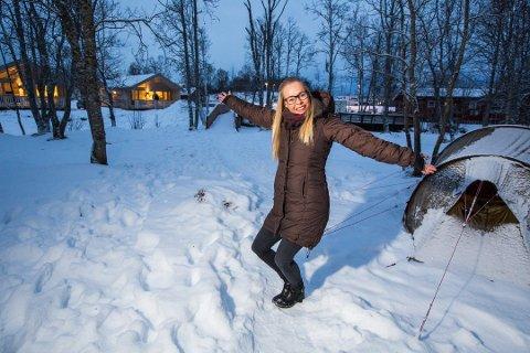 Ida Jakobsen og Tromsø camping er blant bedriftene som tjener godt på nordlys-turisme. Foto: Ole Åsheim