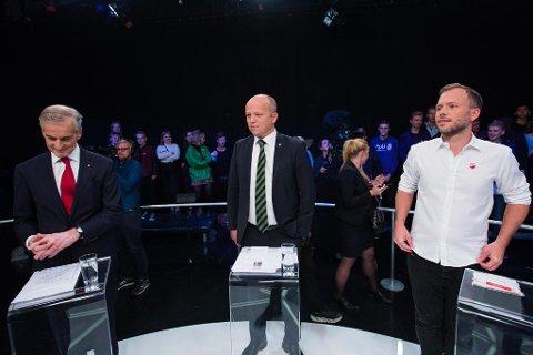 Elendig måling for det rødgrønne alternativet. Partilederne fra venstre: Jonas Gahr Støre (Ap), Trygve Slagsvold Vedum (Sp) og Audun Lysbakken (SV).