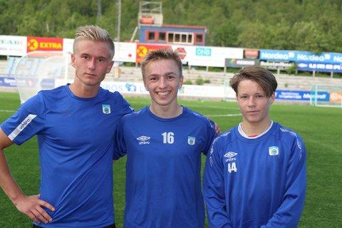 GOD OPPVISNING: Brian Stangnes Kjeldsberg (t.v), Henrik Johnsgård (i.m) og August Mikkelsen (t.h) leverte alle tre gode prestasjoner mot Senja.