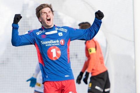 MÅLLØS: Vegard Lysvoll fikk en tung kveld på topp, mot et Florø-lag som var gode defensivt. Her fra en tidligere anledning.