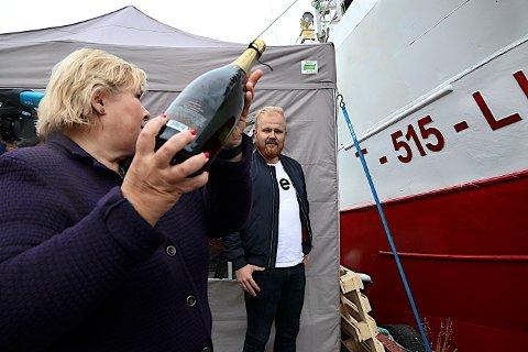 Erna Solberg på Husøya på Senja lørdag.